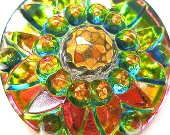 Czech glass button, Green, Pink, gold, 24mm.