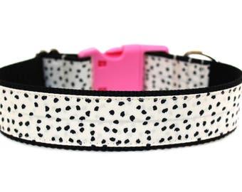 """Polka Dot Dog Collar 1"""" or 1.5"""" Modern Dog Collar Girl Dog Collar"""