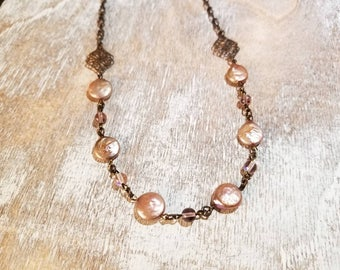 Pink Pearl Filigree Necklace