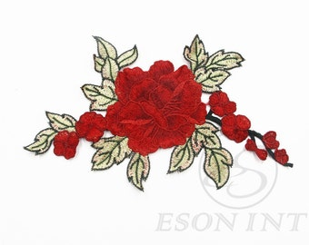 Red Flowers Patch Applique ,Floral Applique. Sewing supplies. Embroidered Applique