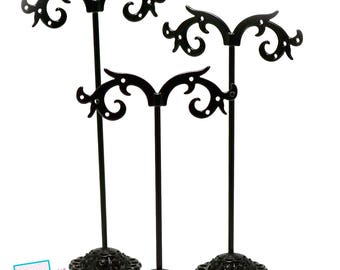 Set of 3 racks for earring, black