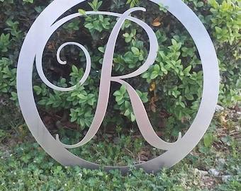 24 INCH Circle Monogram Metal Sign 24 Inch-Round Monogram Metal Sign- Bare Unfinished Metal Letter Sign