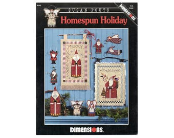 Christmas Cross Stitch Dimensions Booklet, Santa Cross Stitch, Santas, Christmas Ornaments, Angels Cross Stitch, Craft Book NewYorkTreasures