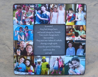 """Best Friends Collage Frame, Personalized Sister Gift, Unique Maid of Honor Picture Frame, Custom Bridesmaid, Birthday Photo Gift, 8"""" x 8"""""""