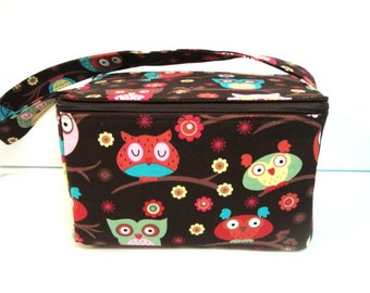 Super Large 6 inch Depth Fabric Coupon Organizer with  ZIPPER CLOSER  Owls on Branches Brown