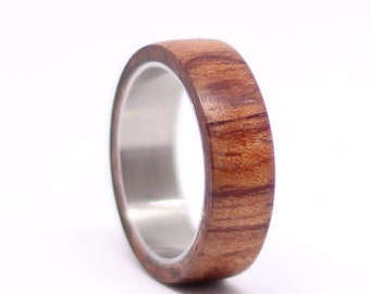 Titanium Wedding Ring, Mens Stainless Steel Band with Bubinga Wood