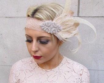 Beige Cream Silver Feather Headpiece 1920s Headband Great Gatsby Flapper 4261