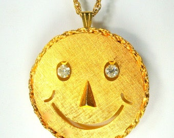 Bright Gold Smiley Face Big Pendant on Chain, Also a Pin, 1960s Rhinestone Dangle Eyes on Fun Round Pendant, The Symbol of Hippie Years