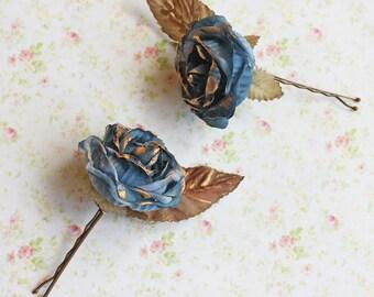 Blue and Gold Rose Flower Hair Pins. Whimsical. Weddings. Bridesmaids. Rustic Wedding. Hair Accessories. fall, autumn, blue