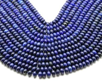 "GUB-0408 - Natural Lapis Beads - Rondelle Beads - 5x8mm - 16"" Strand"