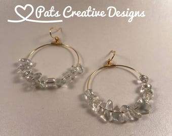 Gold Plated Brass Hoops with an Array of Clear Chips Beads