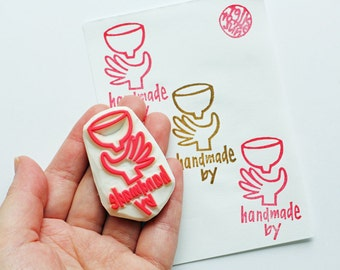 handmade by rubber stamp | packaging craft stamp for ceramic artist | card making | gift wrapping | hand carved by talktothesun