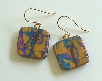 Purple, Gold & Teal Square Polymer Clay Earrings by Carol Wilson of Je t'adorn