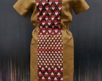 """African print dress  """"Becky"""" Camel and Coral open back ON SALE"""
