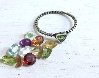 Custom Made Gemstone Ring - Stacking Ring - Bezel Ring - Oxidized Sterling Silver Ring - Tourmaline Ring - Bead Band Ring - Minimalist Ring