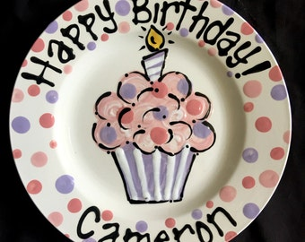 Hand Painted Personalized Purple and Pink Birthday Plate