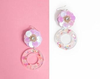 Ring of Flower- handmade drop earrings