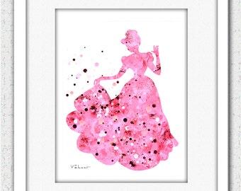 Pink Princess 1 - Archival Print from Original Painting, Nursery Decor, Kitchen Decor, Wedding Decor, Small Print, Silhouette Art