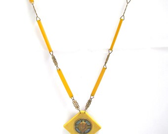 Egyptian Revival Yellow Celluloid and Brass Necklace Tutankhamun Tut Pendant
