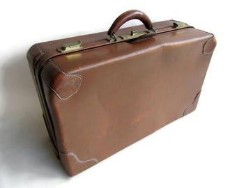 Vintage Top Grain Cowhide Leather Suitcase; Antique Suitcase, Cowhide Suitcase, Leather Suitcase, Vintage Suitcase
