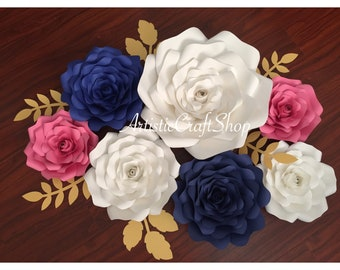 Set of 7 paper flowers set/wall decor/birthday/nursery decor/ CUSTOMIZE YOUR COLORS!