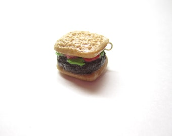 Realistic Sandwich Charm, Hamburger Polymer Clay Food, Cute Charm, Miniature Jewelry, Burger Charm, Lettuce, Tomato, Beef, Lunch Charm