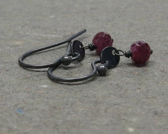 Ruby Earrings Petite Minimalist Disc Raspberry Red Oxidized Sterling Silver Gift for Girlfriend Gift for Mom