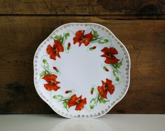 Mignon Orange Poppies Luncheon Plate by Z S & Co / Zeh Scherzer China Bavaria