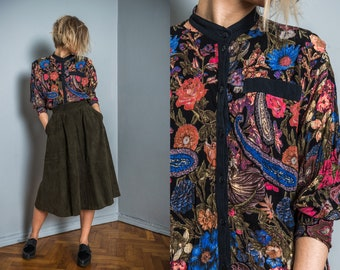 Vintage floral blouse   spring blouse   button up   80s blouse   multi color blouse   band collar blouse   boho blouse   hipster shirt  