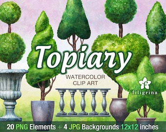 Topiary WATERCOLOR Clip Art. Garden trees, shrub, greenery, grass, pot, urn, hill, landscape. 20 elements, 4 pastel paper. Read about usage
