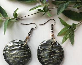 Carved Porcelain Earrings with Glass Bead