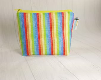 Narrow Pastel Rainbow Stripes Zipper Notions Pouch, Mini Zippered Wedge Bag, Craft Pouch NP0041