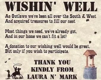 Western Wedding Favors Cowboy Wishing Well Cards qty 50