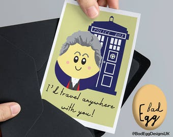 "BadEgg ""Time Traveller"" - Peter Capaldi Doctor Who Inspired TV Greetings Card by Bad Egg Designs UK"