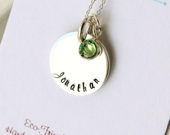 Mom Necklace, Hand Stamped Gift for Her, New Mother Jewelry, Gift for Mom