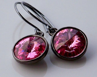 Swarovski Rose Pink Crystal and Oxidized Sterling Silver Dangle Earrings