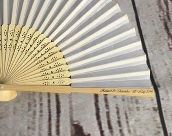 100 pack Personalised wedding favours; personalised wedding fan; personalised silk & wood hand fan for wedding favour; vintage wedding favou