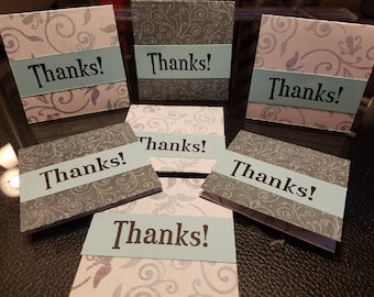 SALE 7 Mini Thank you cards hand stamped orders 3x3 blue colorful perfect for your Etsy orders