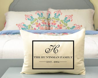2nd Cotton anniversary gift, Mothers Day, Valentines gift, anniversary gift idea, Custom pillow, monogram, personalized, last name pillow