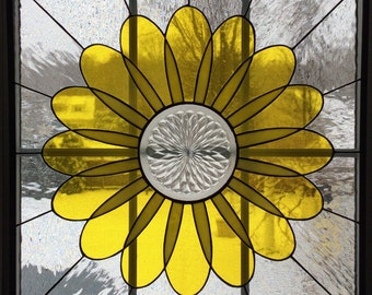 Stained glass window, stained glass panel, Spring in Bloom with vintage glass center lens