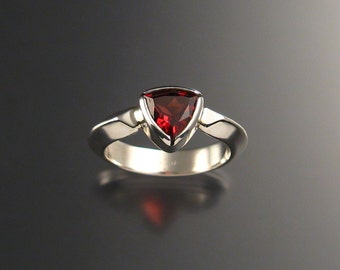 Garnet triangle ring Sterling Silver made to order in your size