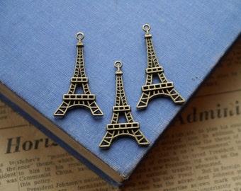 6 Antique Bronze LARGE Eiffel Tower Charms  (SC2190)