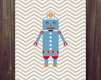 INSTANT DOWNLOAD Robot Chevron Children's Art Print 8x10