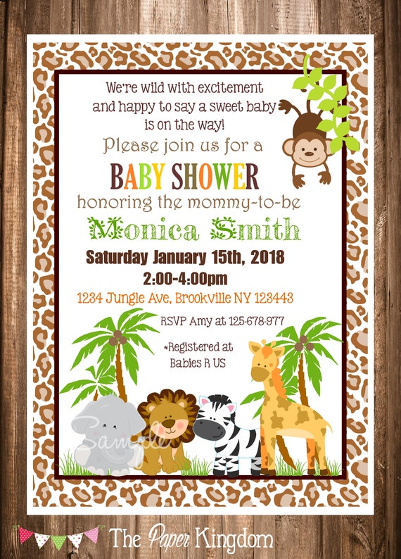 Jungle Safari Baby Shower Invitations Printable Safari