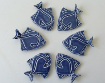 Ceramic knife/chopstick Rests, Hand Made Set of Six, Angelfish