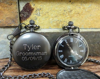 Personalized Groomsmen Pocket Watch, Gunmetal Monogrammed Pocket Watch, Gifts for Men, Groomsmen Gift, Best Man, Father of the bride (775)