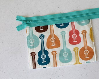 Ukulele zipper pouch, Cosmetic bag change purse, mini business card id holder, coin purse, small, cash envelope, kid wallet, man bag, music