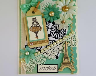 Shabby Thank you card, merci greeting card, ballerina handmade card, merci Eiffel tower card