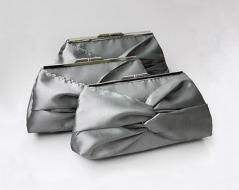 Set of 3 Knotted Bridesmaid Clutch With Metal Frame- Gray, Ivory, Pink and More