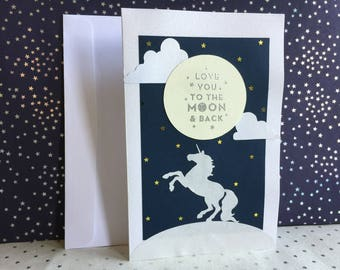 Love you to the Moon and Back Unicorn Greeting Card